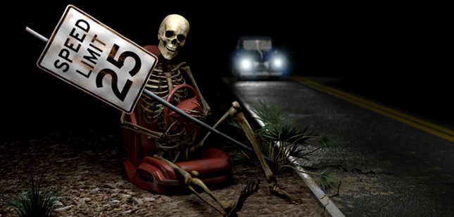 Sppooky ghost holding speed limit sign on dark highway