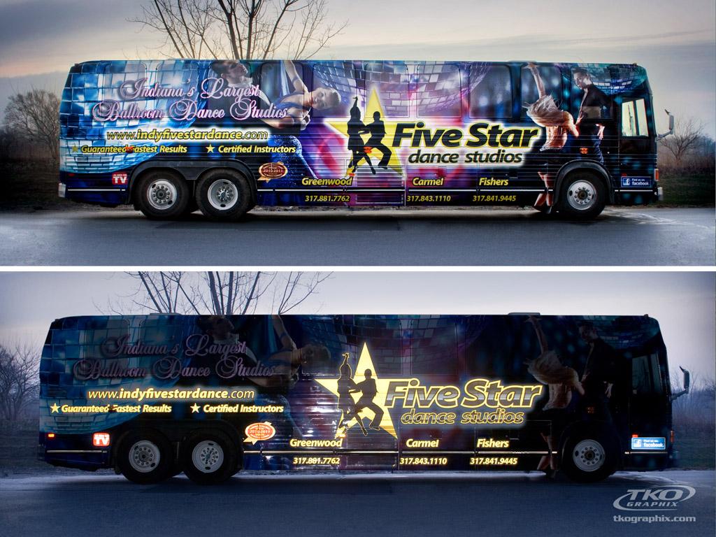 Five Star Dance Studios bus wrap graphics, Indianapolis