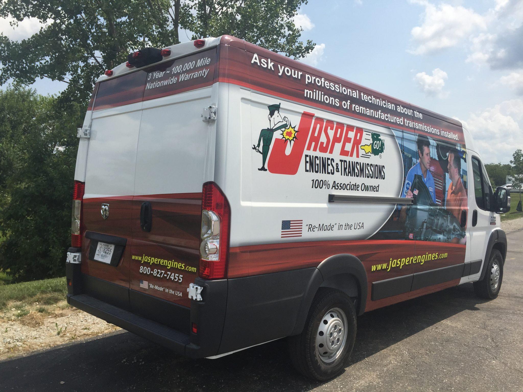 transit van vehicle wrap; angled rear view - Jasper Engines