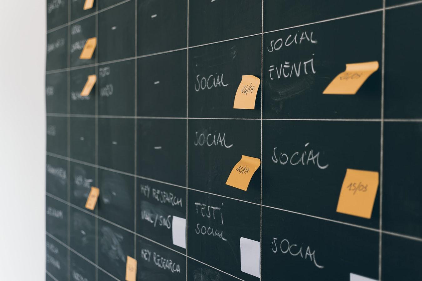 Post it notes on a blackboard