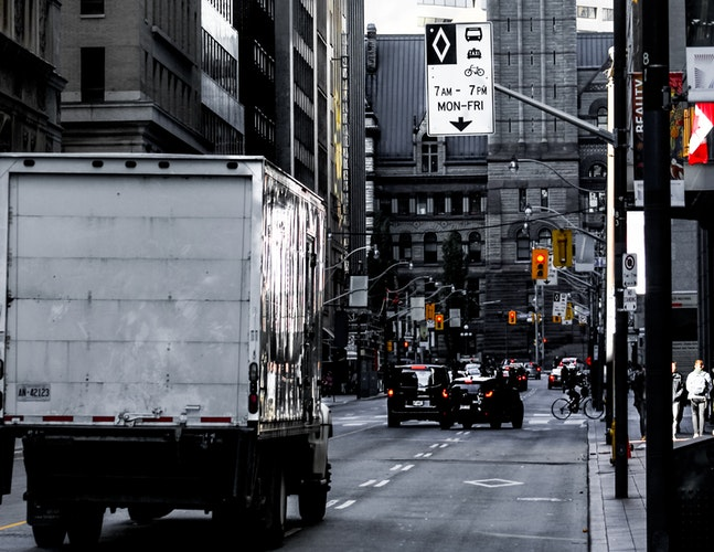 delivery truck on city street