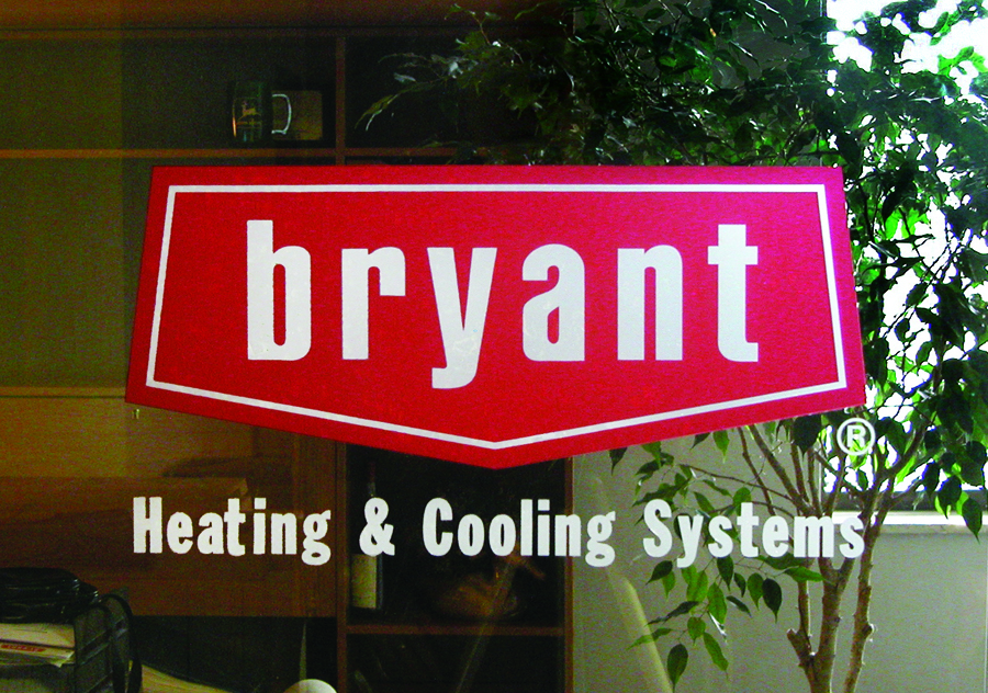 Bryant heating and cooling window graphic red a