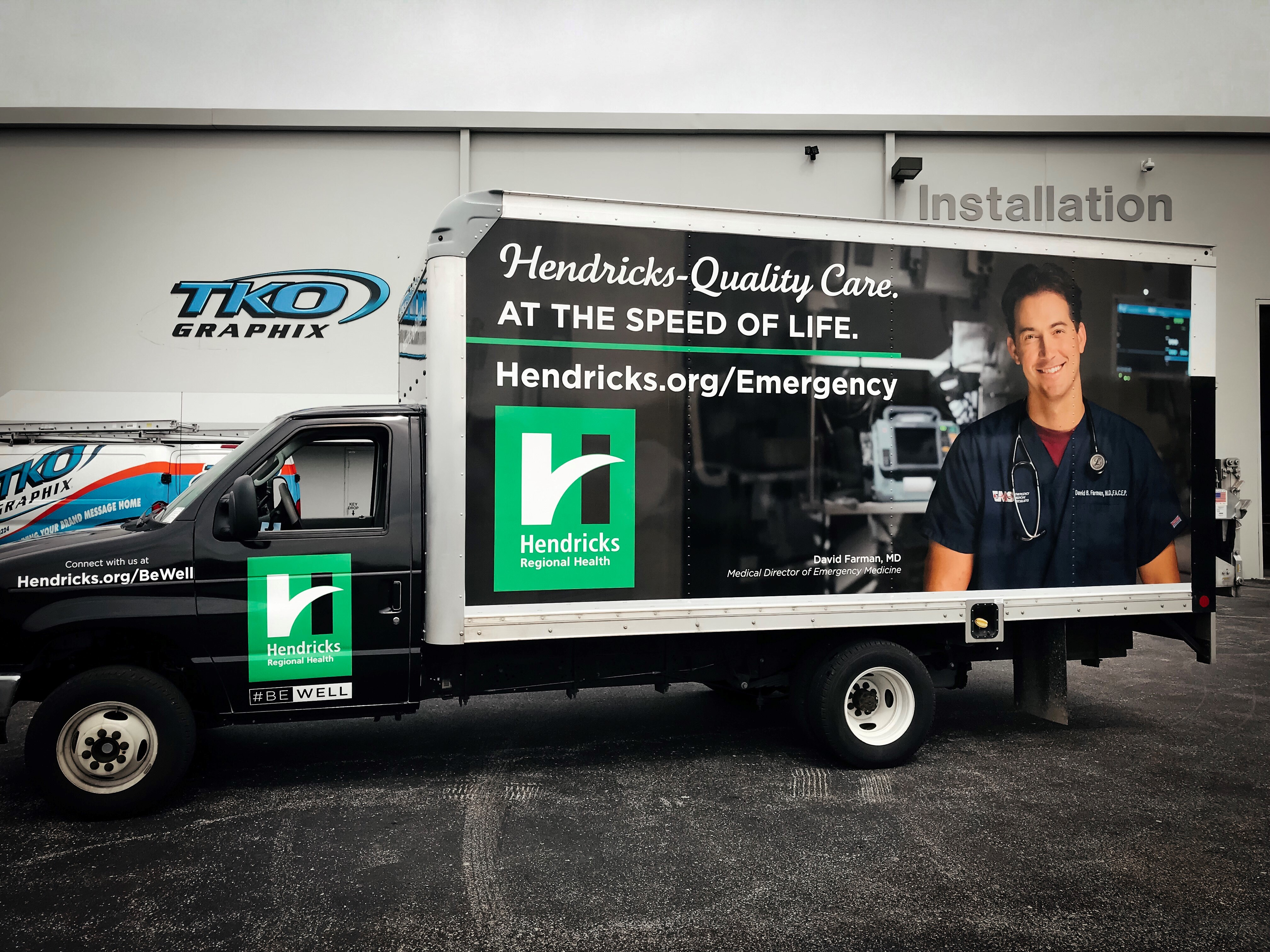 Hendricks Regional Health Box Truck in TKO Graphix back lot