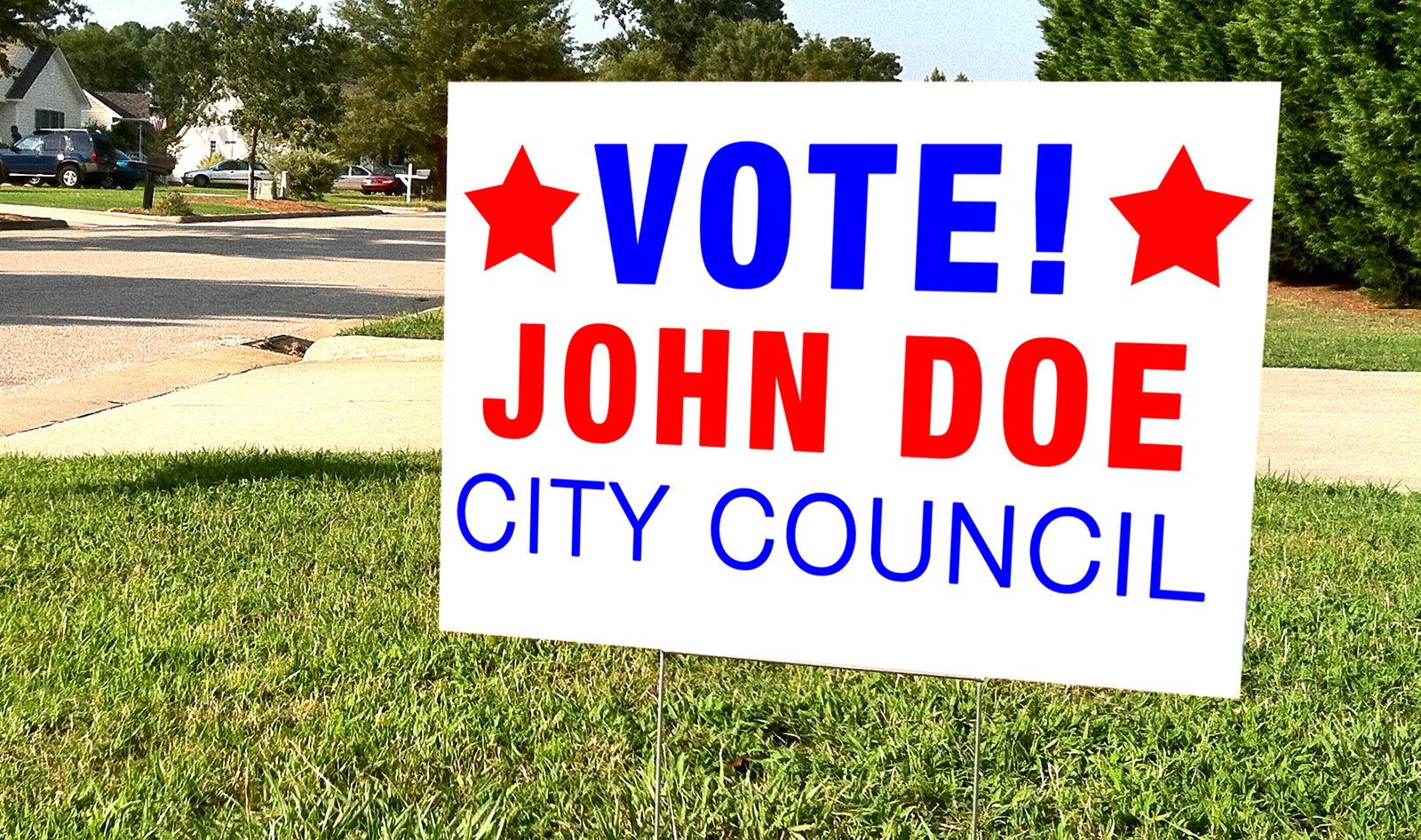John Doe Political Yard sign in residential yard