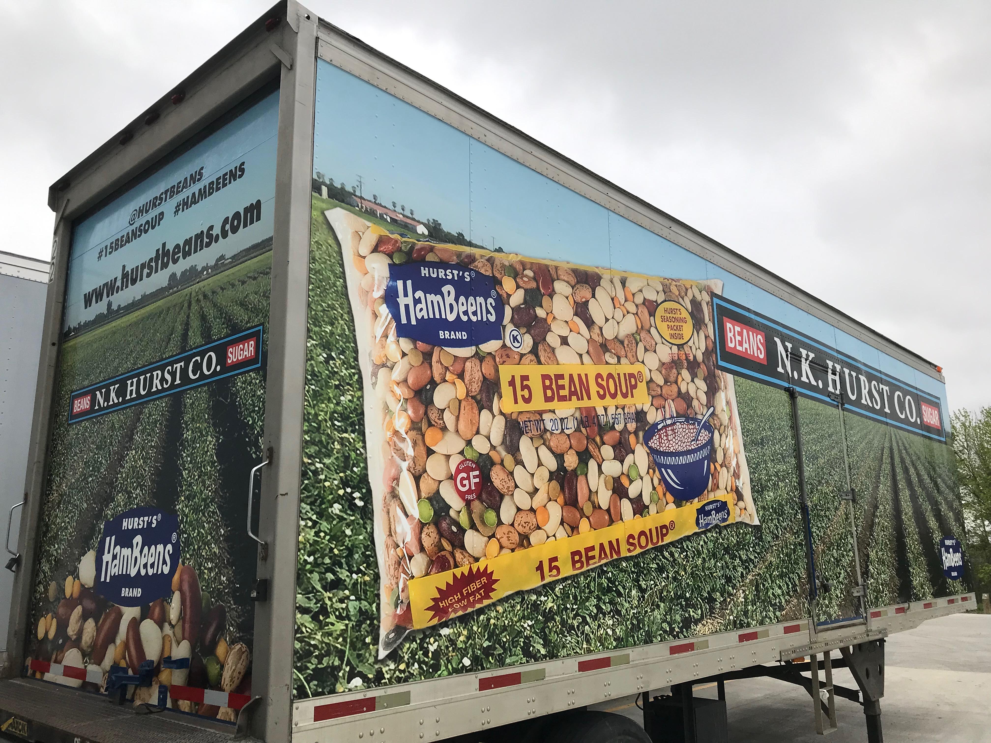 The Hurst Beans Full Wrapparked behind Hurst Beans Office.