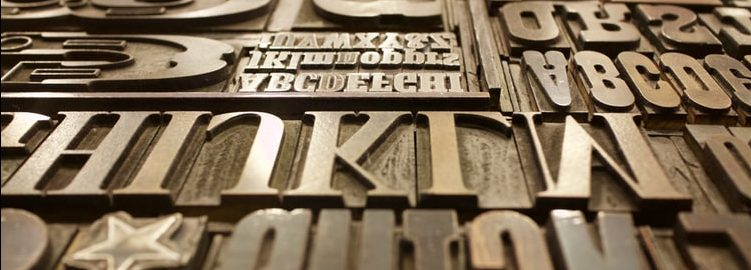 A box of printing press letters