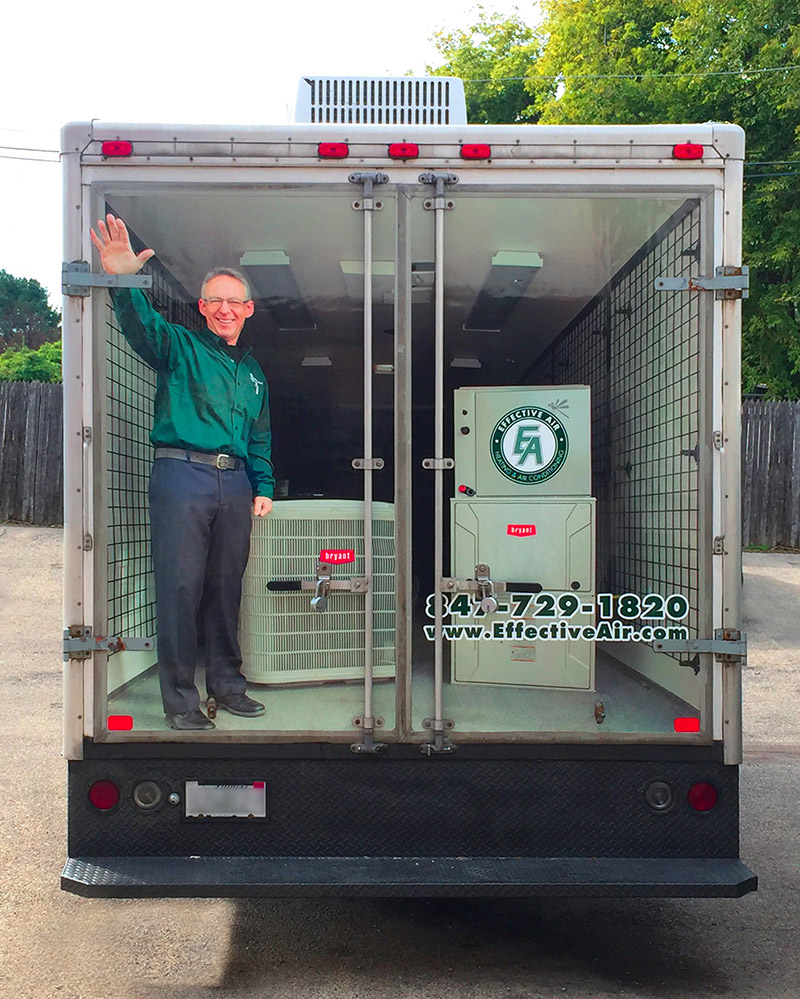 man waving - box truck vehicle wrap
