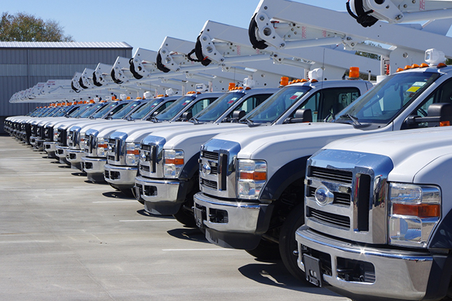 a row of work trucks