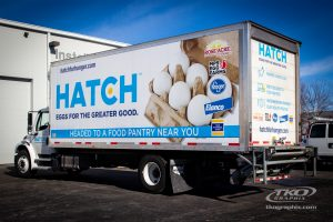 Hatch for Hunger box truck parked at TKO Graphix