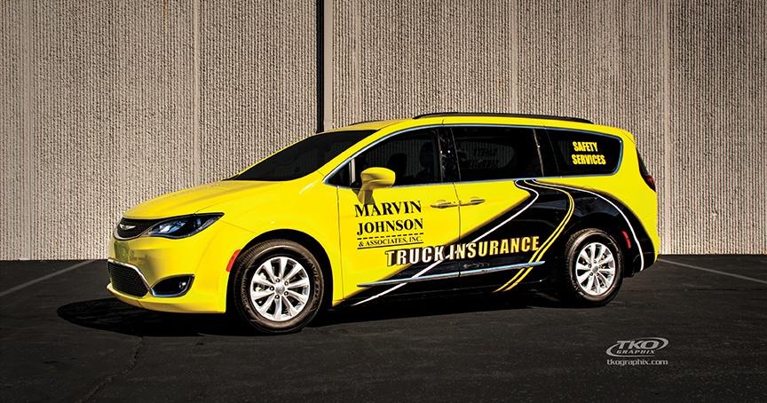 mini-van vehicle wrap front angled view - Marvin Johnson