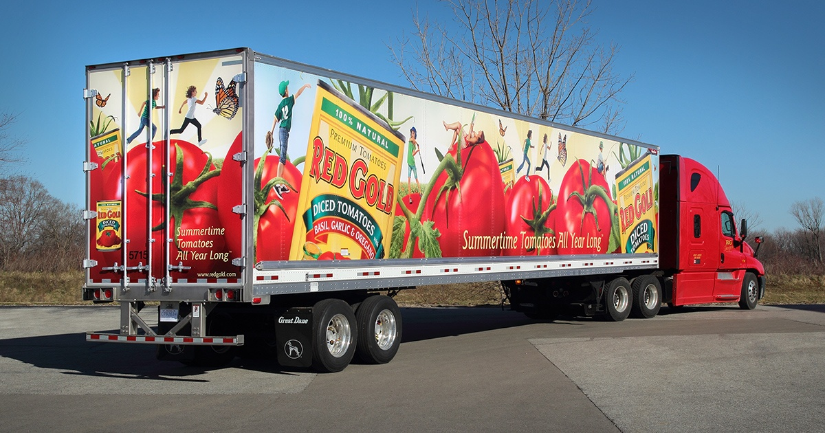 Fully Wrapped Semi Trailer with Red Gold Graphics
