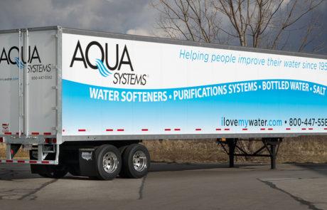 Graphics on Semi Trailer-Aqua Systems