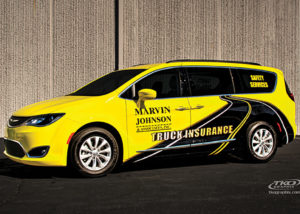 Bright Yellow Mini-Van Vehicle Wrap Front Angled View - Marvin Johnson