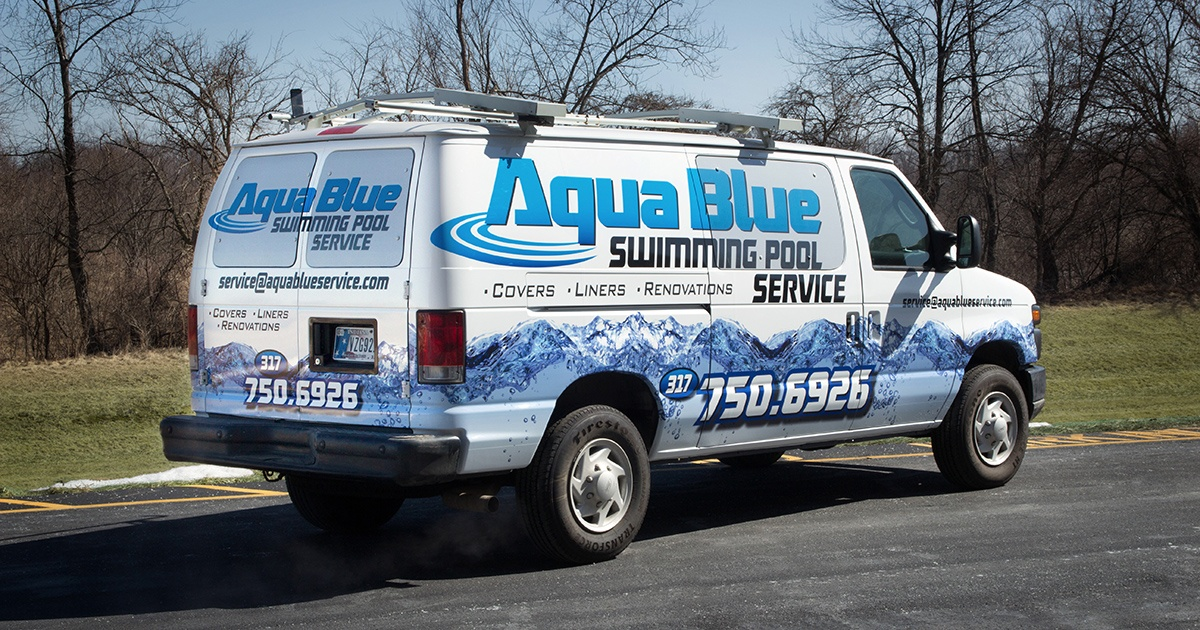 Van with Wrap for Aqua Blue Swimming Pool Service - TKO Graphix