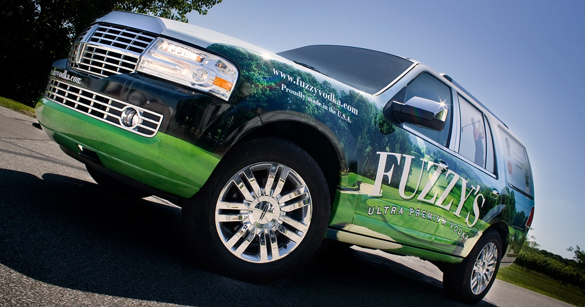 Lincoln Navigator Fully Wrapped with Golf Image for Fuzzy's Vodka
