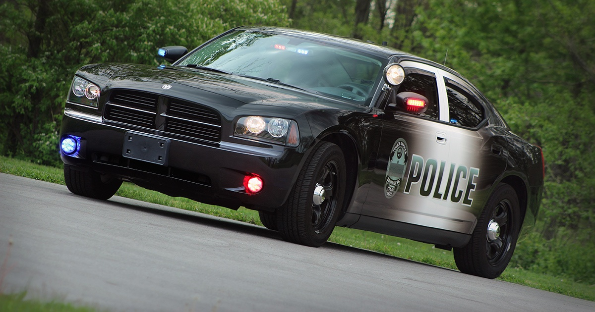 Dodge Charger Police Car with Ombre Graphics Wrap