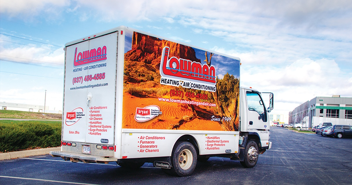 Box Truck Graphics Wrap with Desert Scene - Lowman Heating and Air Conditioning