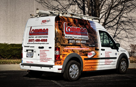 Transit Connect with Bryant Side Partial Wrap with Desert Scene - Lowman Heating and Air - HVAC