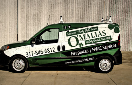 Dodge Ram Promaster with full vehicle wrap - Omalia's Living-Fireplaces and HVAC