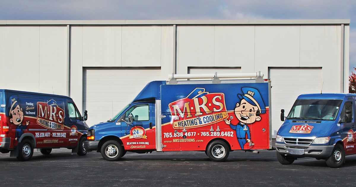 Fleet of HVAC Service Vehicles with Blue and Red Vehicle Graphic Wraps