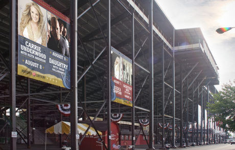 Large Banners Installed on Outdoor Stadium - Indiana State Fair