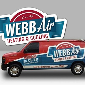Webb Air Red and Blue Van Wrap and Logo