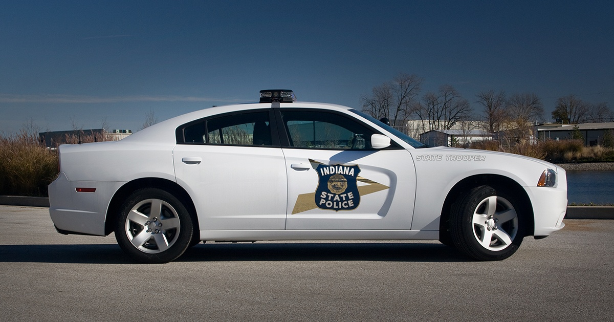 White Dodge Charger with Indiana State Police Decal