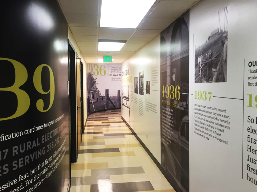 timeline wall graphics at Hendricks Power